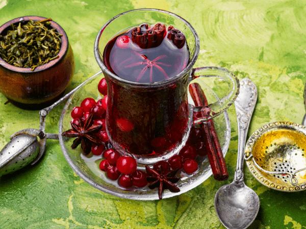 фото чая с клюквой
